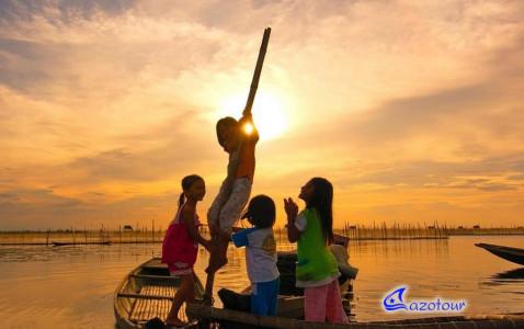 Admiring The Sunset At Tam Giang Lagoon